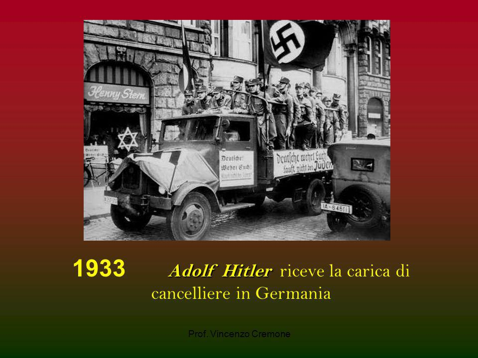 1933 Adolf Hitler riceve la carica di cancelliere in Germania