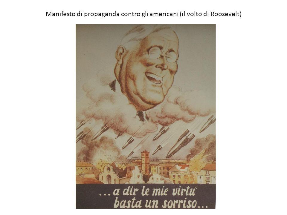 Manifesto di propaganda contro gli americani (il volto di Roosevelt)