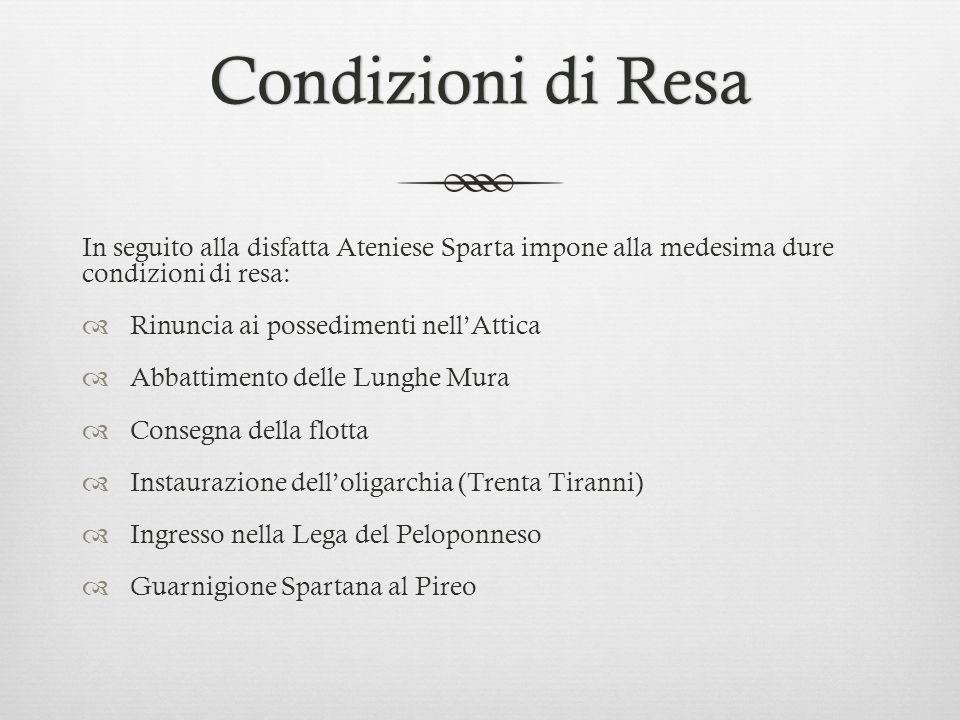 Condizioni di Resa In seguito alla disfatta Ateniese Sparta impone alla medesima dure condizioni di resa: