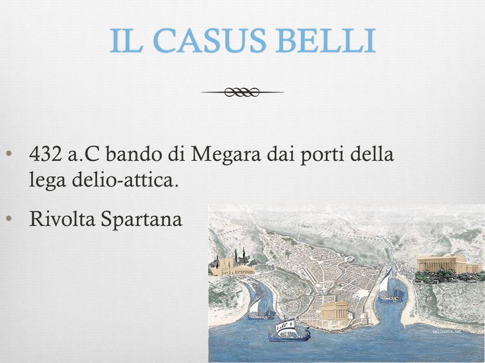 IL CASUS BELLI 432 a.C bando di Megara dai porti della lega delio-attica. Rivolta Spartana