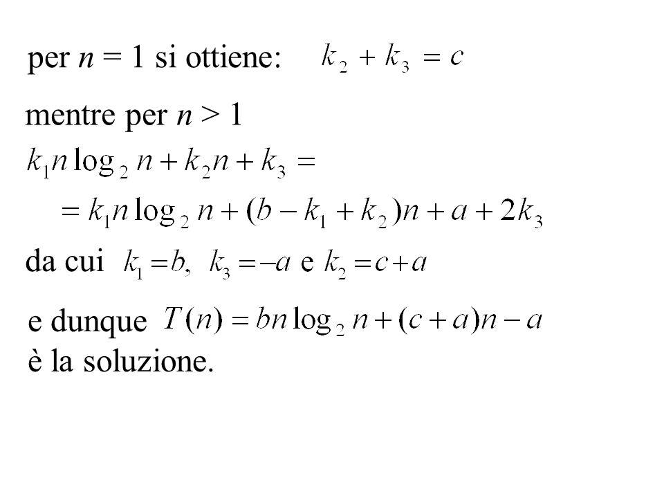 per n = 1 si ottiene: mentre per n > 1. da cui.