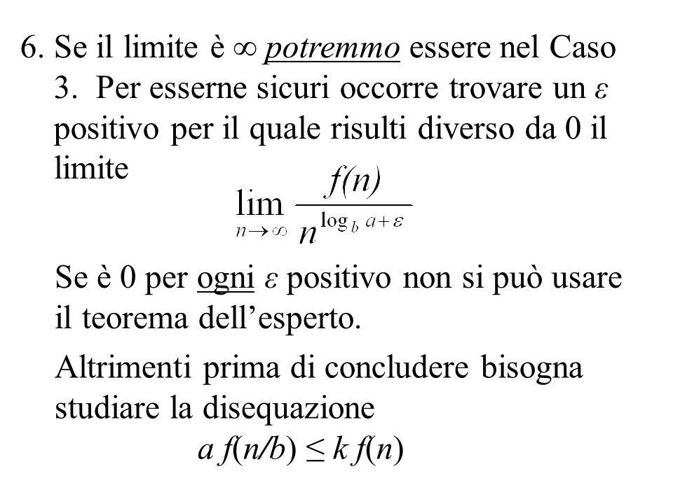 Se il limite è ∞ potremmo essere nel Caso 3