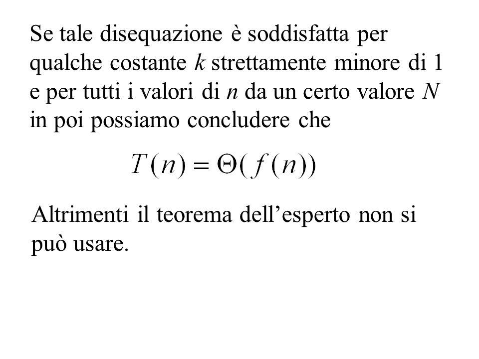 Se tale disequazione è soddisfatta per qualche costante k strettamente minore di 1 e per tutti i valori di n da un certo valore N in poi possiamo concludere che