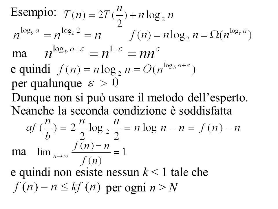 Esempio: ma. e quindi. per qualunque. Dunque non si può usare il metodo dell'esperto. Neanche la seconda condizione è soddisfatta.