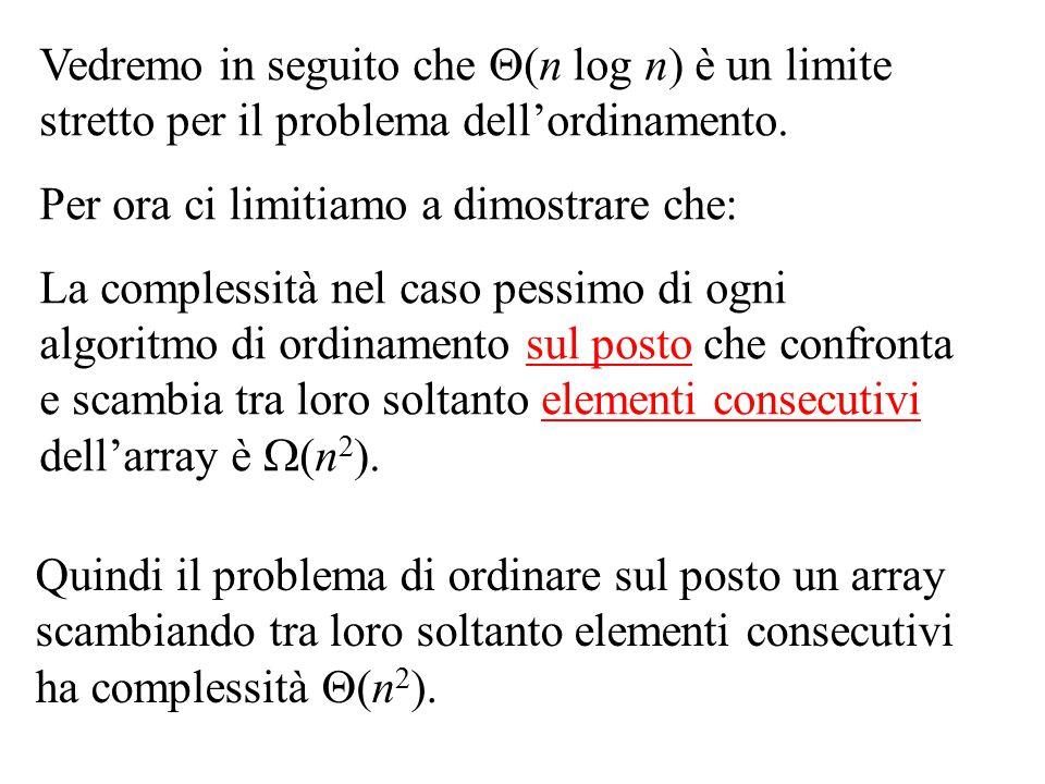 Vedremo in seguito che (n log n) è un limite stretto per il problema dell'ordinamento.