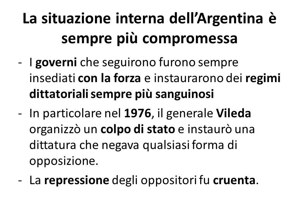 La situazione interna dell'Argentina è sempre più compromessa