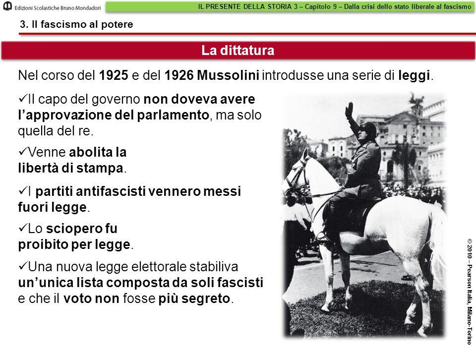 Nel corso del 1925 e del 1926 Mussolini introdusse una serie di leggi.