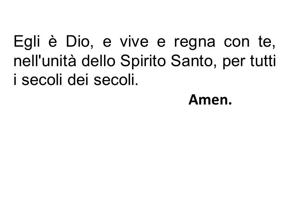 Egli è Dio, e vive e regna con te, nell unità dello Spirito Santo, per tutti i secoli dei secoli.
