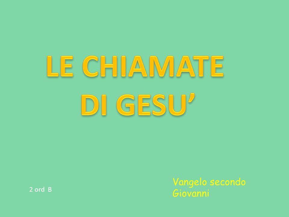 LE CHIAMATE DI GESU' Vangelo secondo Giovanni 2 ord B