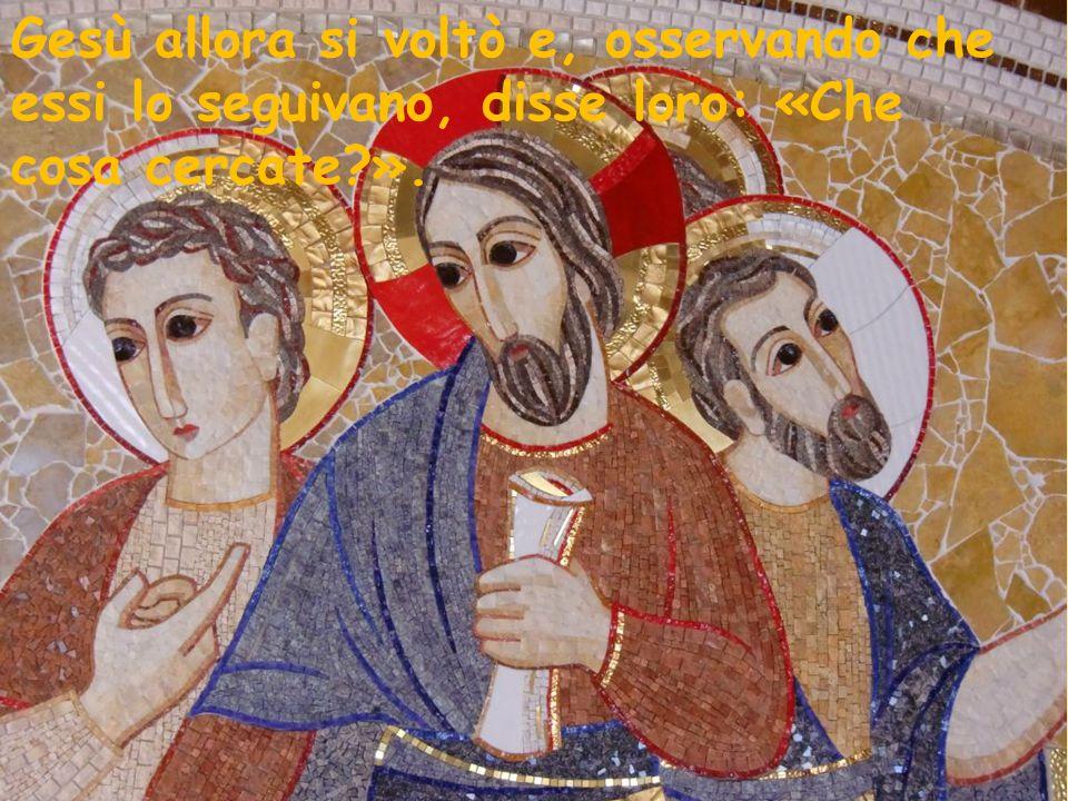 Gesù allora si voltò e, osservando che essi lo seguivano, disse loro: «Che cosa cercate ».