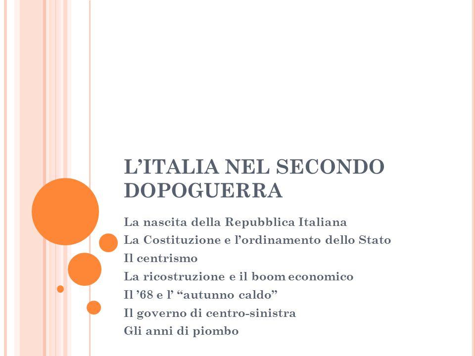 L'ITALIA NEL SECONDO DOPOGUERRA