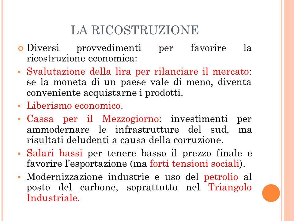 LA RICOSTRUZIONE Diversi provvedimenti per favorire la ricostruzione economica: