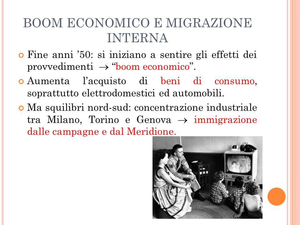 BOOM ECONOMICO E MIGRAZIONE INTERNA