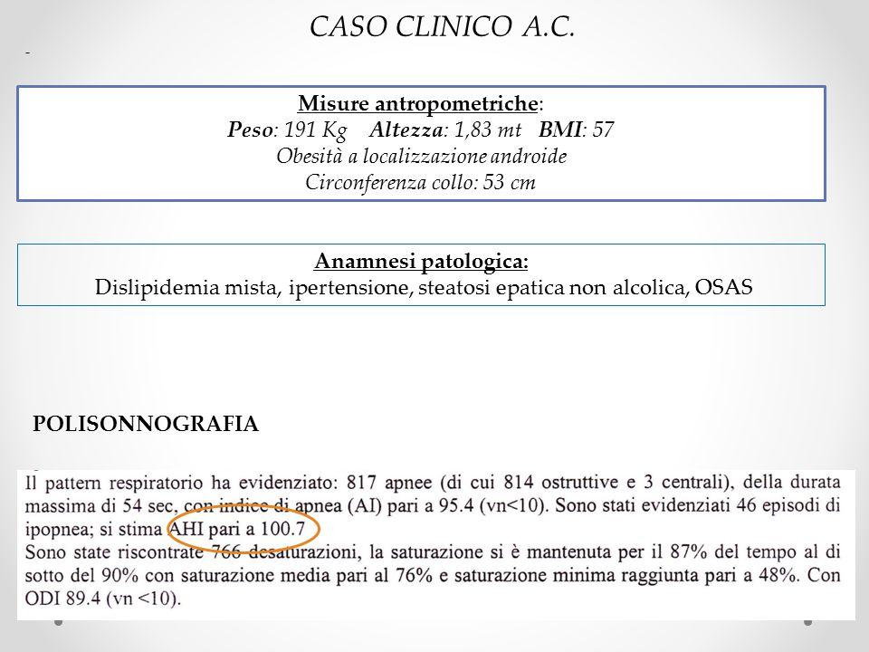 CASO CLINICO A.C. Misure antropometriche:
