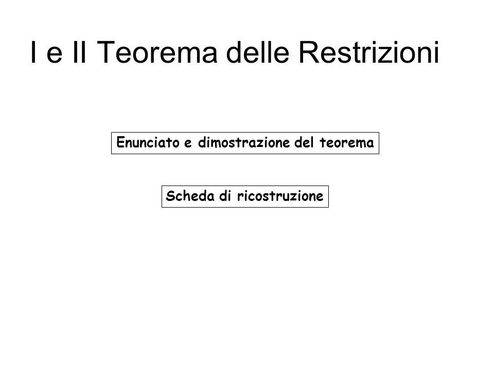 I e II Teorema delle Restrizioni