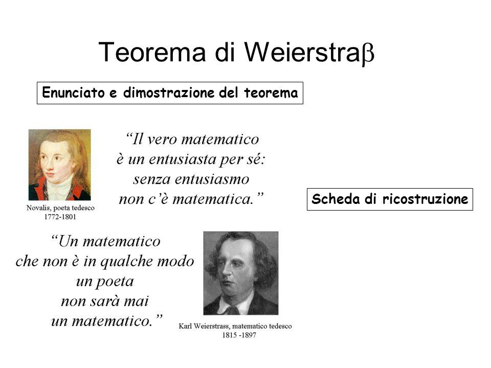 Enunciato e dimostrazione del teorema Scheda di ricostruzione