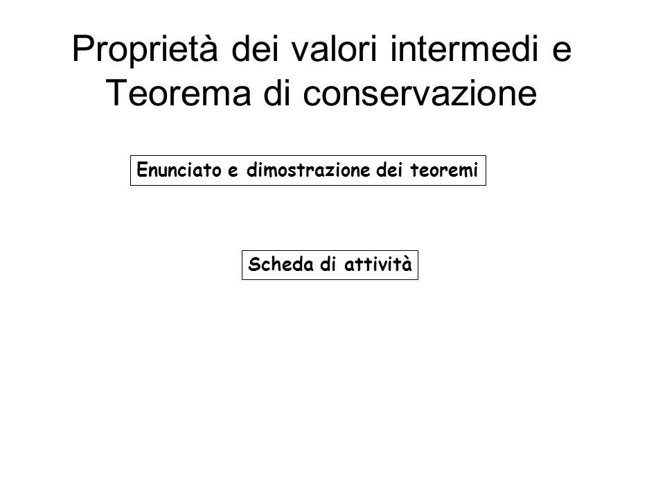 Proprietà dei valori intermedi e Teorema di conservazione