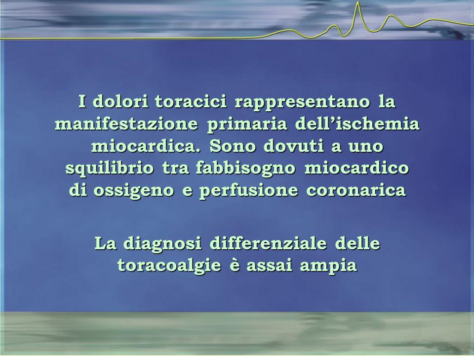 La diagnosi differenziale delle toracoalgie è assai ampia