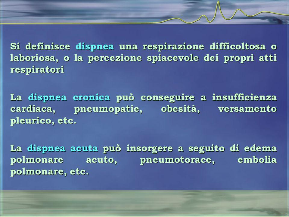 Si definisce dispnea una respirazione difficoltosa o laboriosa, o la percezione spiacevole dei propri atti respiratori