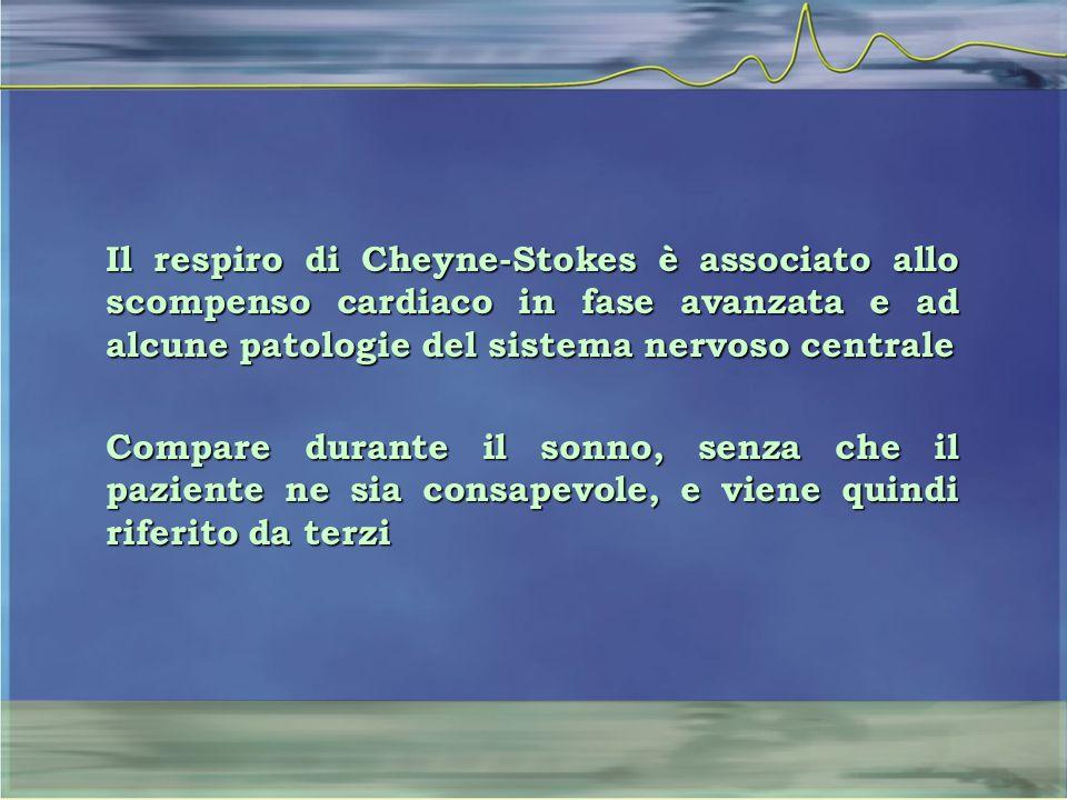 Il respiro di Cheyne-Stokes è associato allo scompenso cardiaco in fase avanzata e ad alcune patologie del sistema nervoso centrale