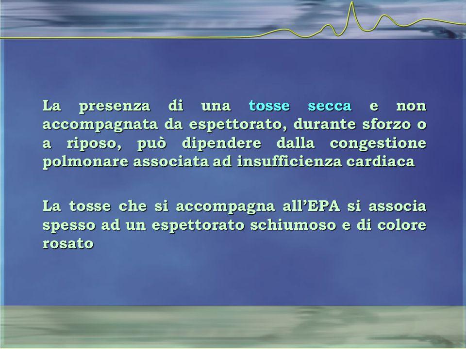 La presenza di una tosse secca e non accompagnata da espettorato, durante sforzo o a riposo, può dipendere dalla congestione polmonare associata ad insufficienza cardiaca