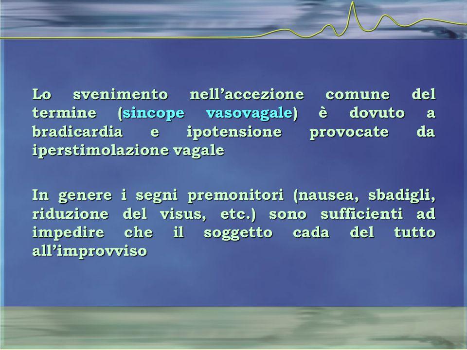 Lo svenimento nell'accezione comune del termine (sincope vasovagale) è dovuto a bradicardia e ipotensione provocate da iperstimolazione vagale