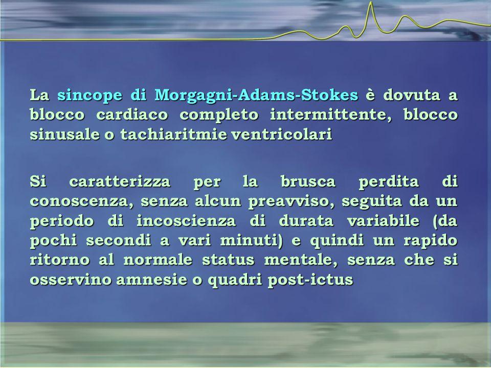 La sincope di Morgagni-Adams-Stokes è dovuta a blocco cardiaco completo intermittente, blocco sinusale o tachiaritmie ventricolari