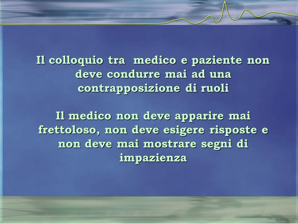 Il colloquio tra medico e paziente non deve condurre mai ad una contrapposizione di ruoli Il medico non deve apparire mai frettoloso, non deve esigere risposte e non deve mai mostrare segni di impazienza