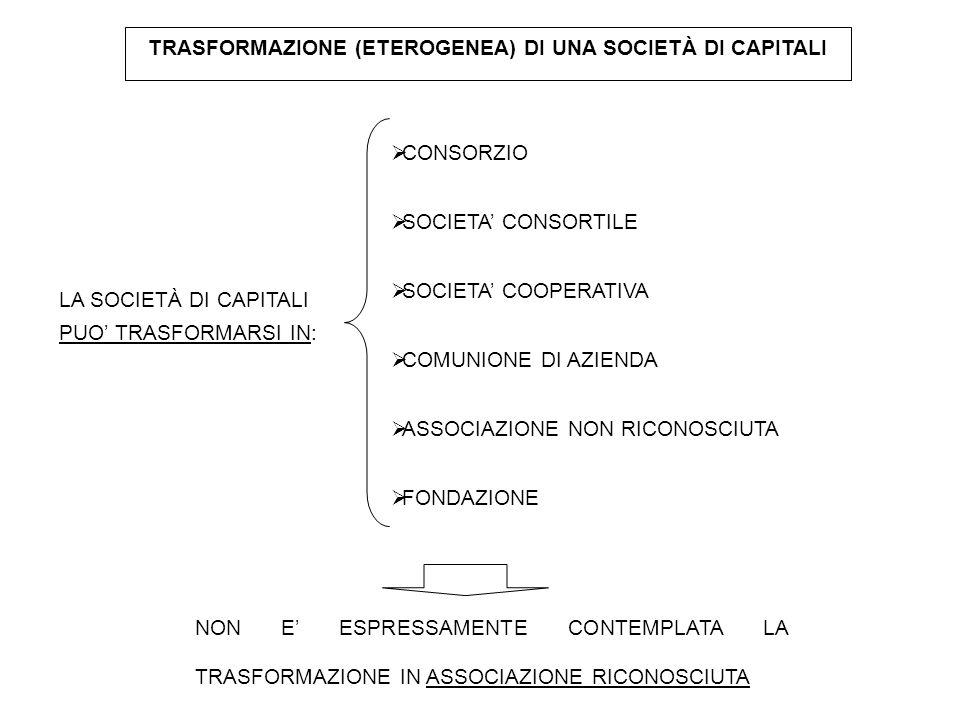 TRASFORMAZIONE (ETEROGENEA) DI UNA SOCIETÀ DI CAPITALI