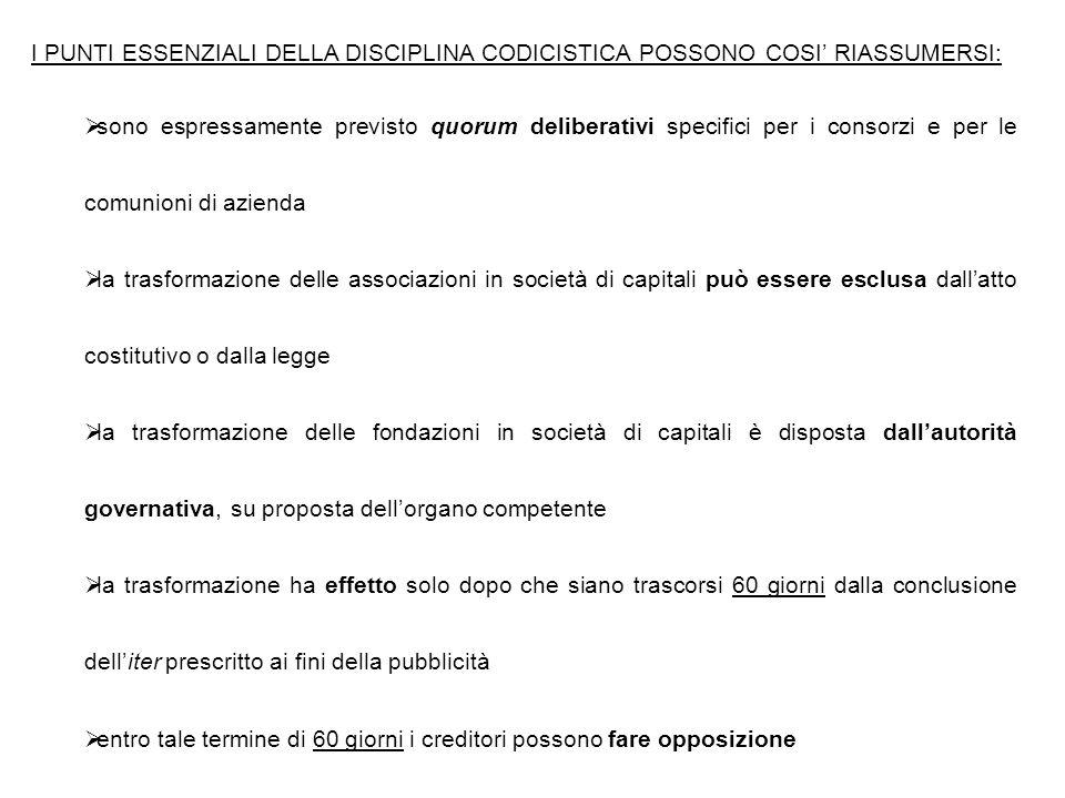 I PUNTI ESSENZIALI DELLA DISCIPLINA CODICISTICA POSSONO COSI' RIASSUMERSI: