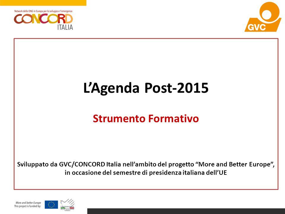 L'Agenda Post-2015 Strumento Formativo