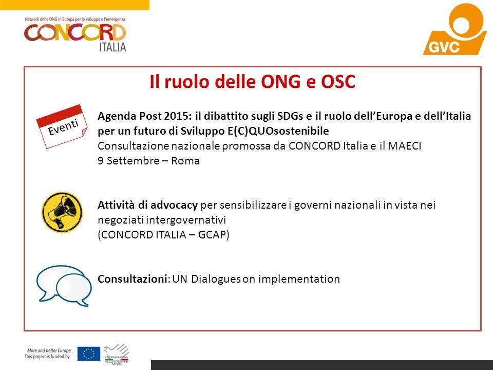 Il ruolo delle ONG e OSC