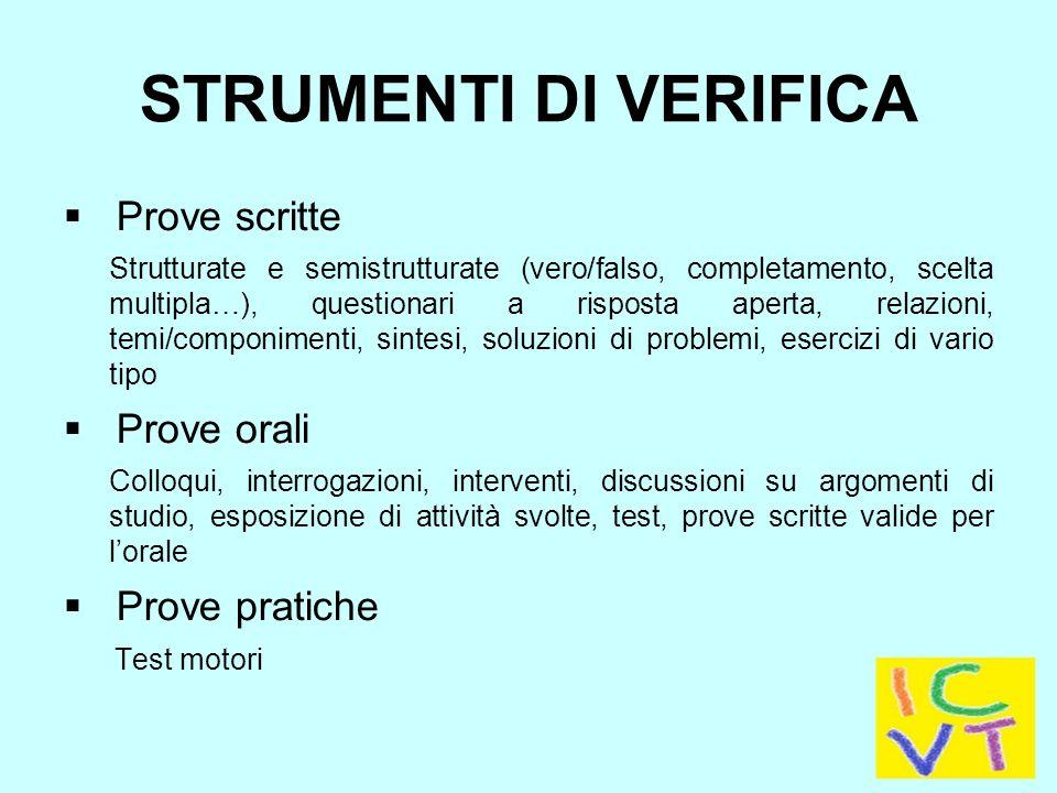 STRUMENTI DI VERIFICA Prove scritte Prove orali Prove pratiche
