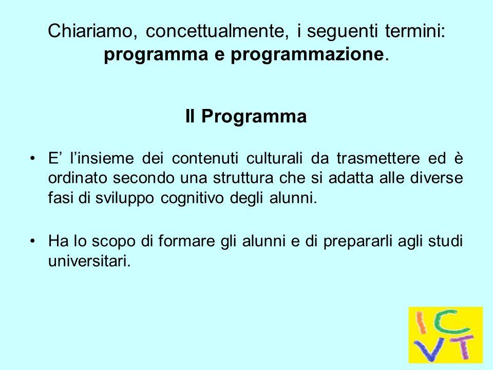 Chiariamo, concettualmente, i seguenti termini: programma e programmazione.