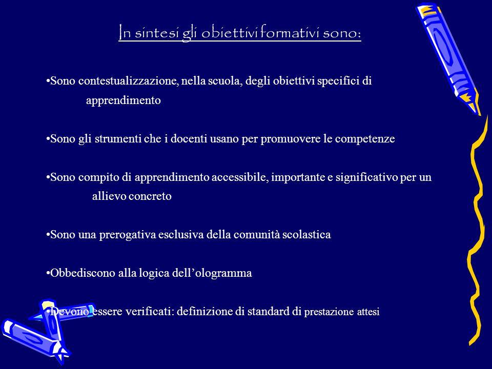 In sintesi gli obiettivi formativi sono: