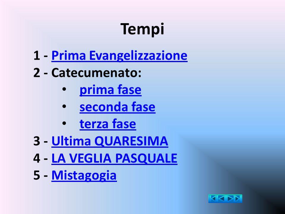 Tempi 1 - Prima Evangelizzazione 2 - Catecumenato: prima fase