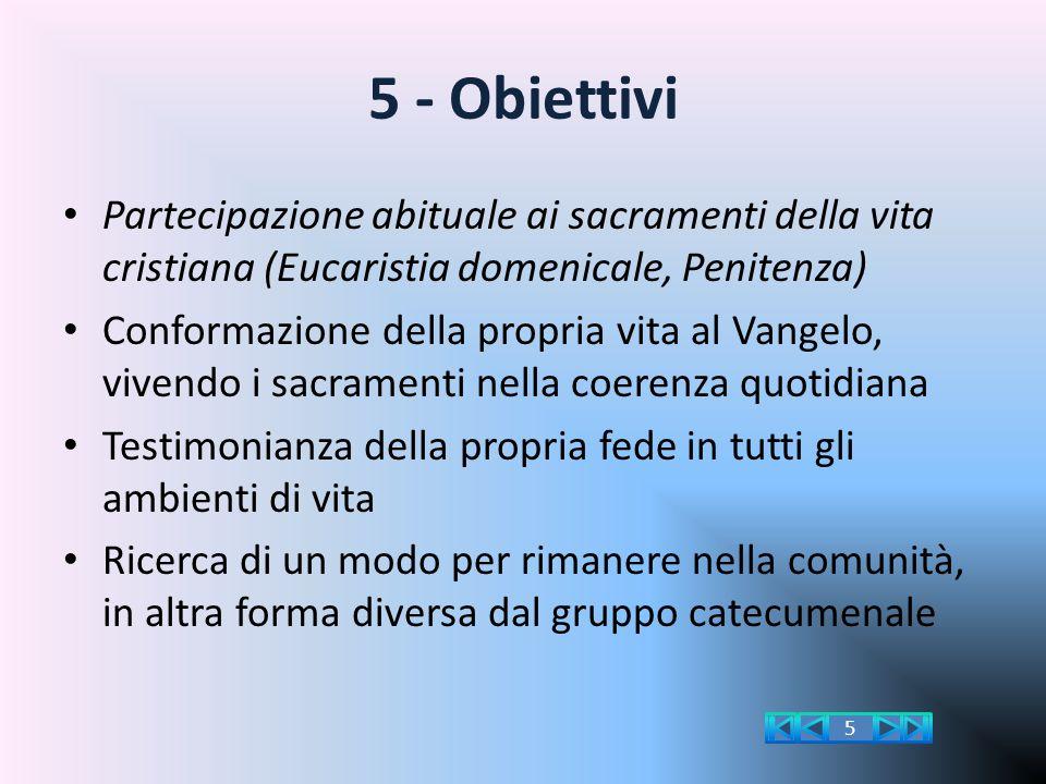 5 - Obiettivi Partecipazione abituale ai sacramenti della vita cristiana (Eucaristia domenicale, Penitenza)