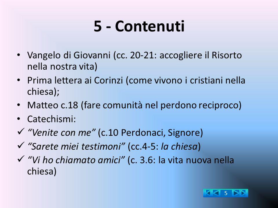 5 - Contenuti Vangelo di Giovanni (cc. 20-21: accogliere il Risorto nella nostra vita)