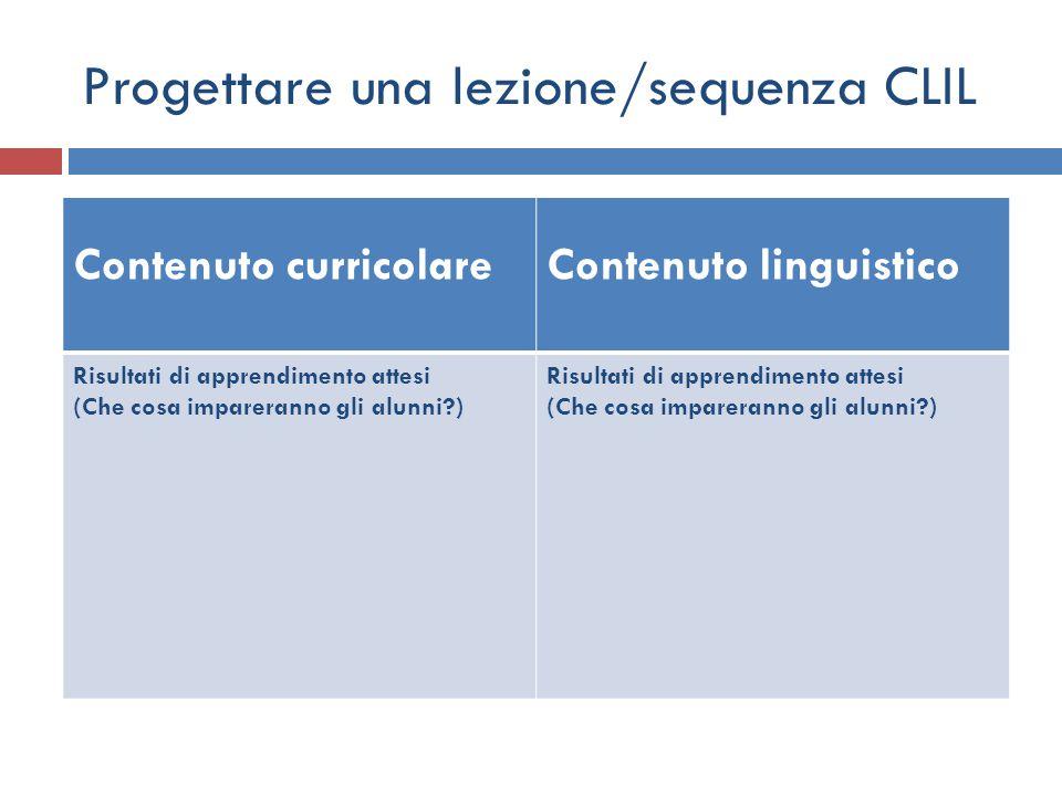 Progettare una lezione/sequenza CLIL