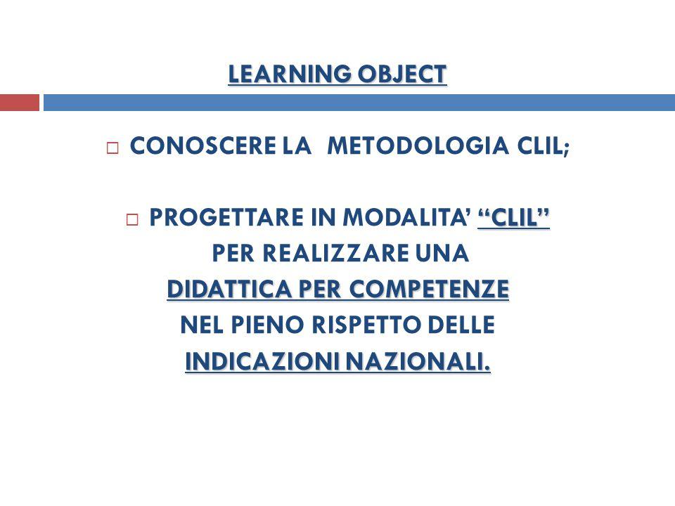 CONOSCERE LA METODOLOGIA CLIL; PROGETTARE IN MODALITA' CLIL