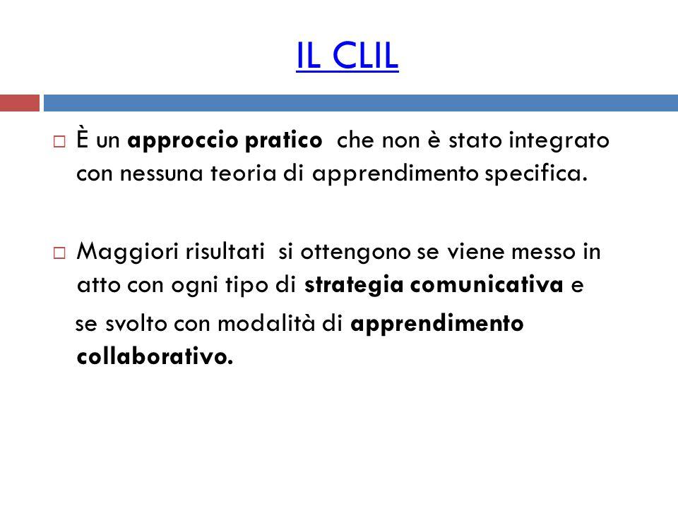 IL CLIL È un approccio pratico che non è stato integrato con nessuna teoria di apprendimento specifica.
