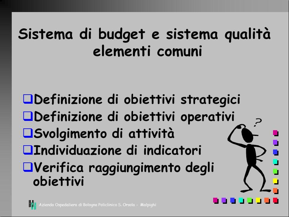 Sistema di budget e sistema qualità elementi comuni