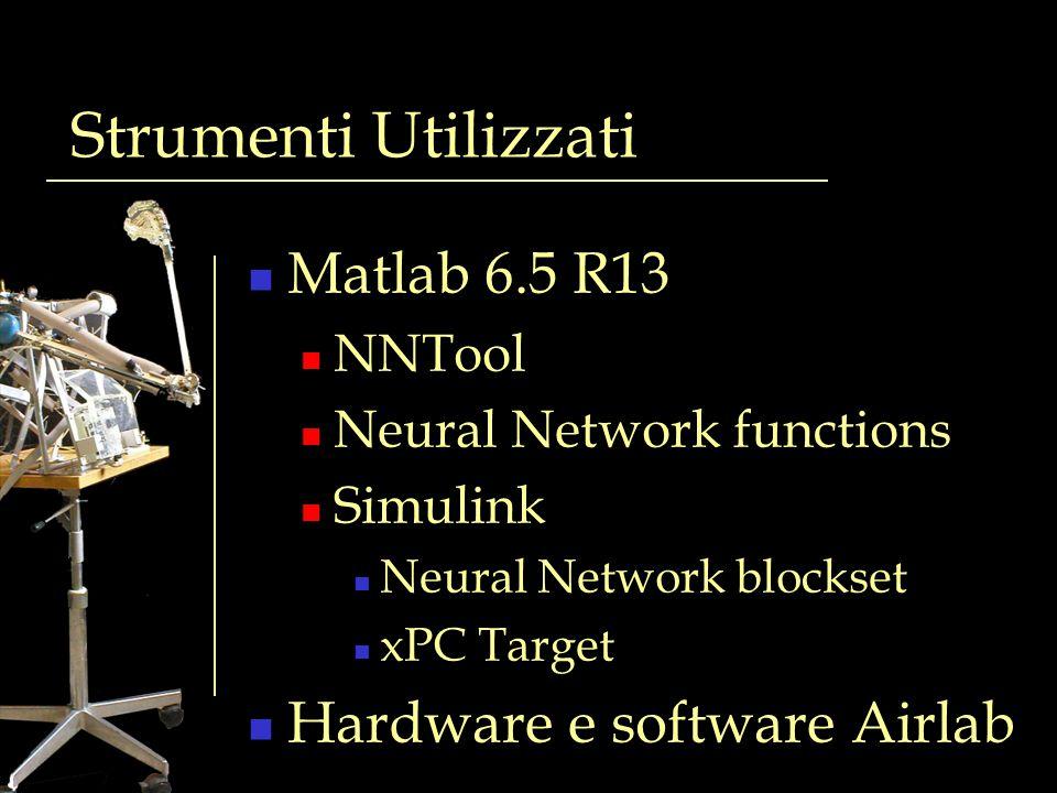 Strumenti Utilizzati Matlab 6.5 R13 Hardware e software Airlab NNTool