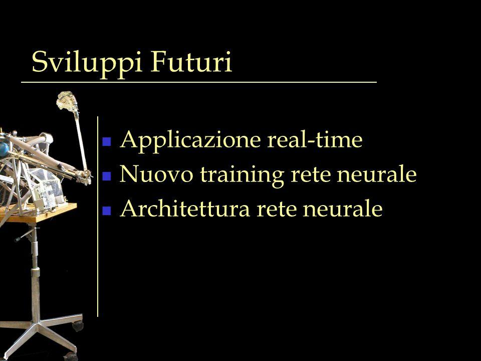 Sviluppi Futuri Applicazione real-time Nuovo training rete neurale