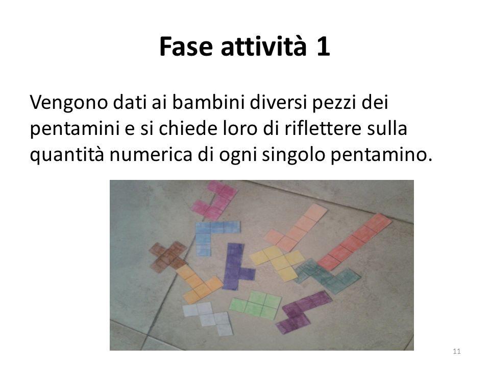 Fase attività 1 Vengono dati ai bambini diversi pezzi dei pentamini e si chiede loro di riflettere sulla quantità numerica di ogni singolo pentamino.