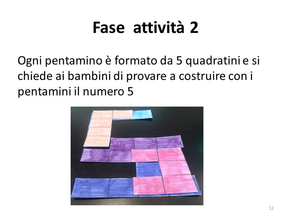 Fase attività 2 Ogni pentamino è formato da 5 quadratini e si chiede ai bambini di provare a costruire con i pentamini il numero 5.