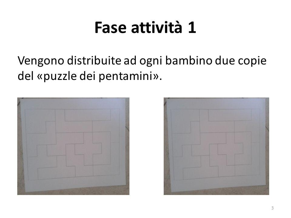 Fase attività 1 Vengono distribuite ad ogni bambino due copie del «puzzle dei pentamini».