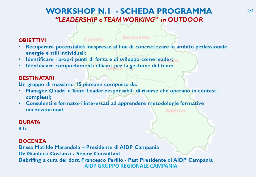 WORKSHOP N.1 - SCHEDA PROGRAMMA
