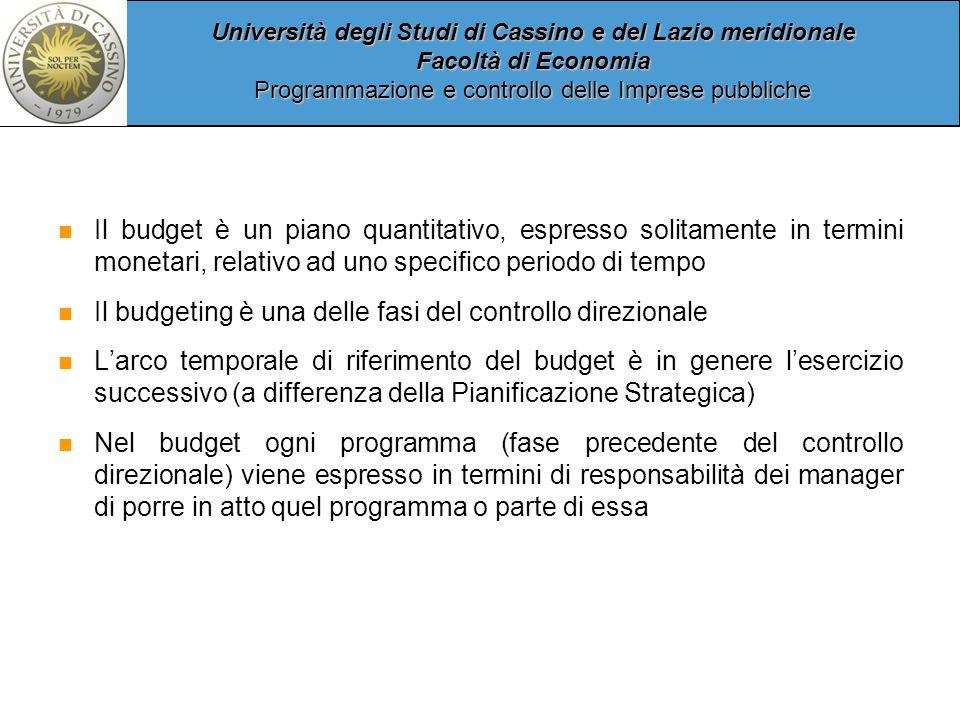Il budget è un piano quantitativo, espresso solitamente in termini monetari, relativo ad uno specifico periodo di tempo