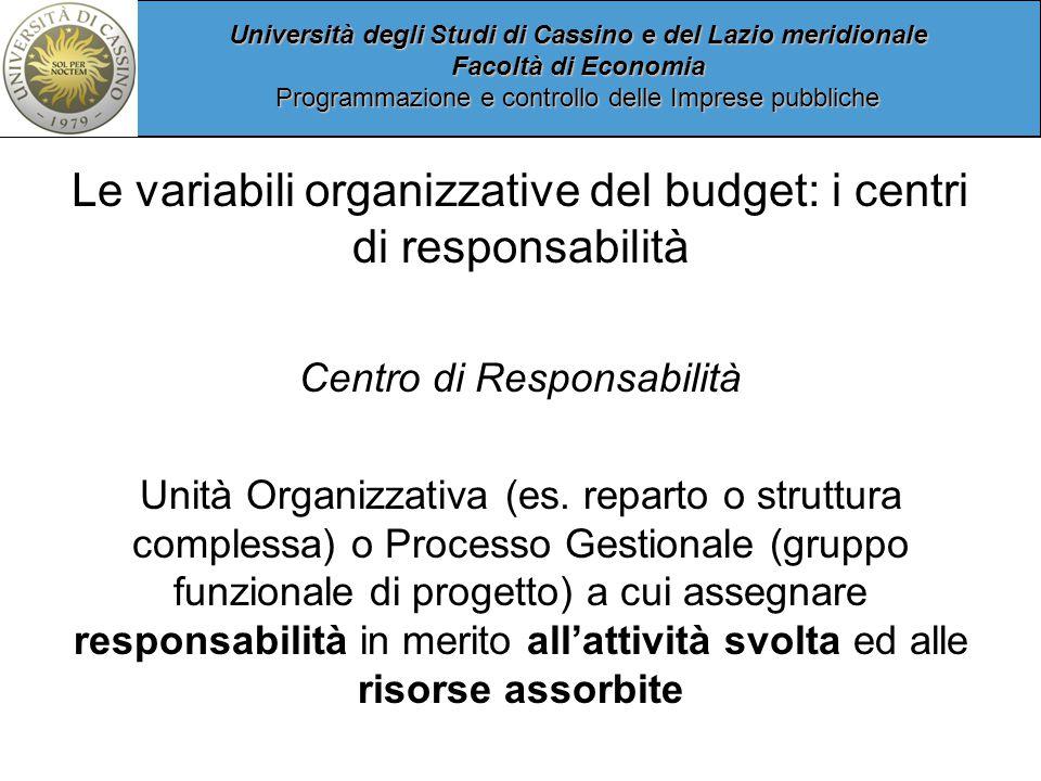 Le variabili organizzative del budget: i centri di responsabilità